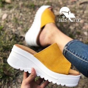 Shoes - Mustard Yellow Slip On White Platform Sandals